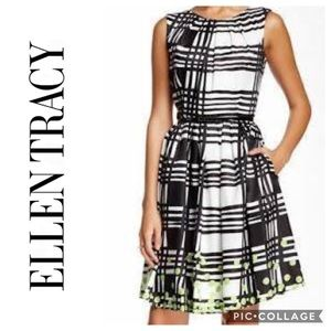 Ellen Tracy Two Tone Belted Dress Sz 8